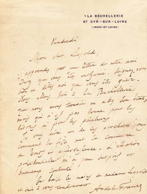 "Autograph letter signed; ""Anatole France,"" undated, to ""Mon cher Leopold"" Anatole France."