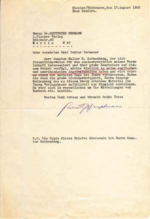 """Typed Letter Signed; """"Gerhart Hauptmann"""" to Gottfried Bermann, August 17, 1932. Gerhart Hauptmann."""