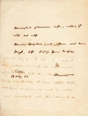 "Autograph Letter Signed; ""Mommsen,"" to an unidentified recipient, August 18, 1863. Theodor Mommsen."