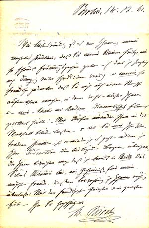 "Autograph letter signed; ""M. Birch,"" to Sophie Verena (unnamed), December 14, 1861. Charlotte Birch-Pfeiffer."