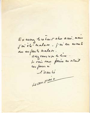 "Autograph note signed; ""Jean Giono,"" to Gottfried Bermann-Fischer (unnamed), no date. Jean Giono."