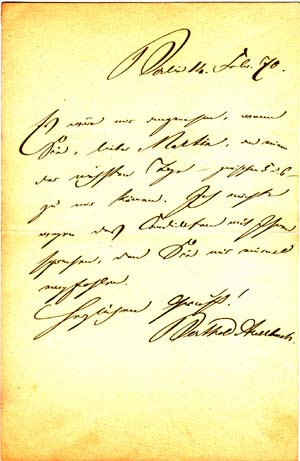 "Autograph letter signed; ""Berthold Auerbach,"" to Dr. Martin Philppsohn, February 11, 1870. Berthold Auerbach."
