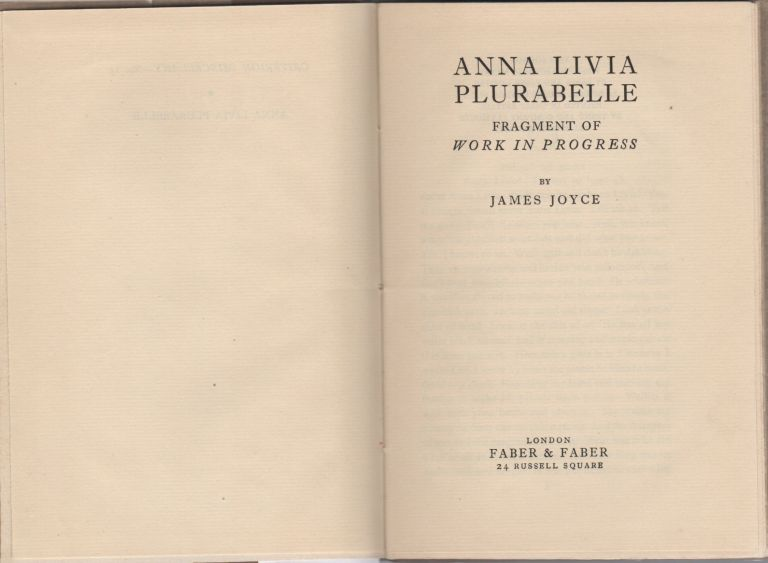 Anna Livia Plurabelle; Fragment of Work in Progress. James Joyce.