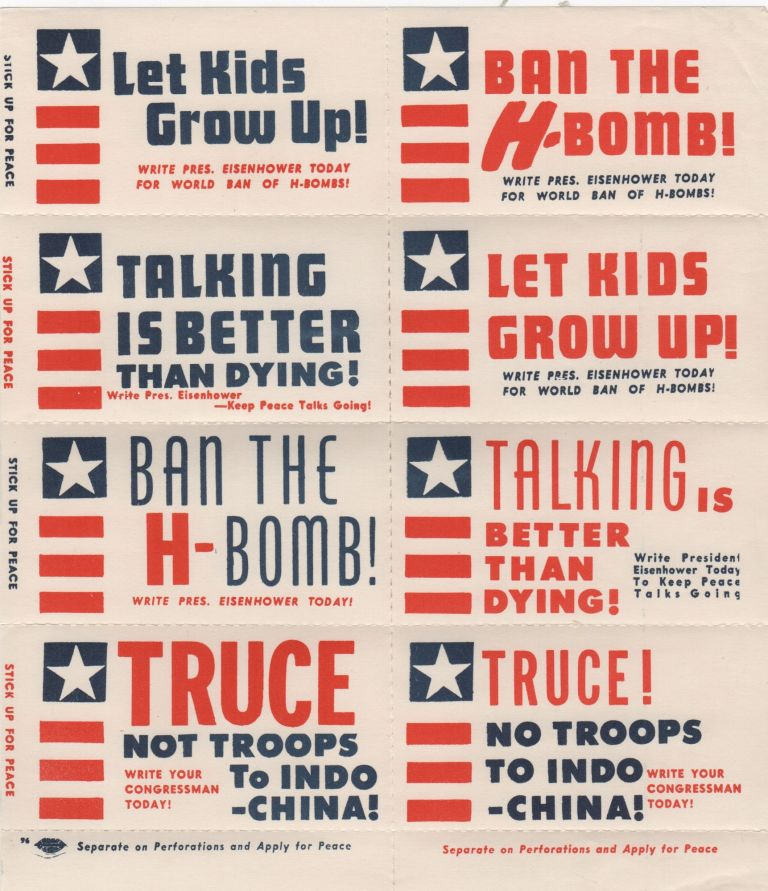 Ban The H-Bomb Stickers. Cold War.