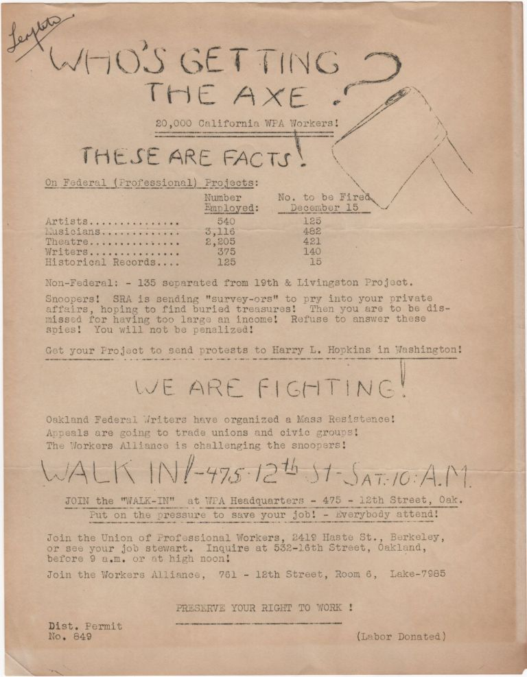 Who's Getting the Axe?; 20,000 California WPA Workers! THESE ARE FACTS. . WPA.