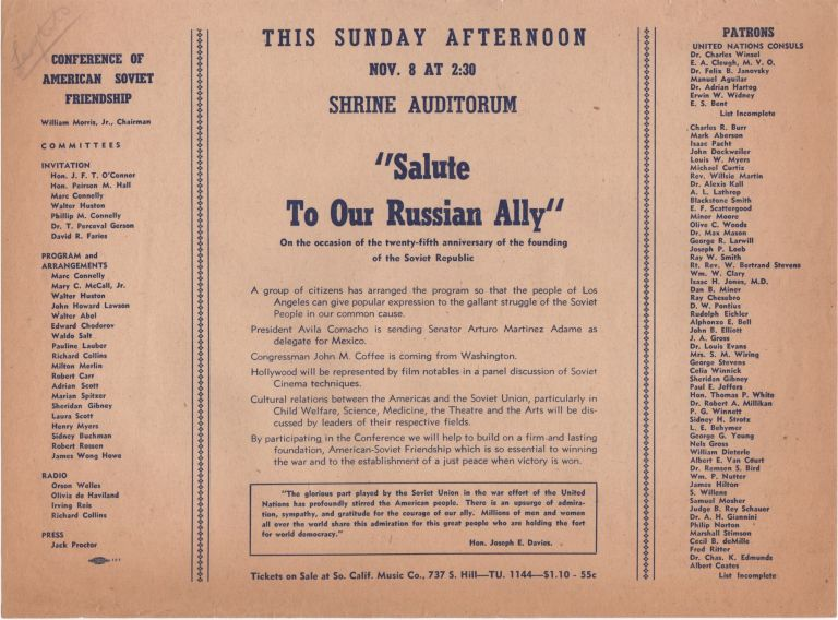 """""""Salute Our Russian Ally""""; On the occasion of the twenty-fifth anniversary of the founding of the Soviet Republic. . Soviet Union."""