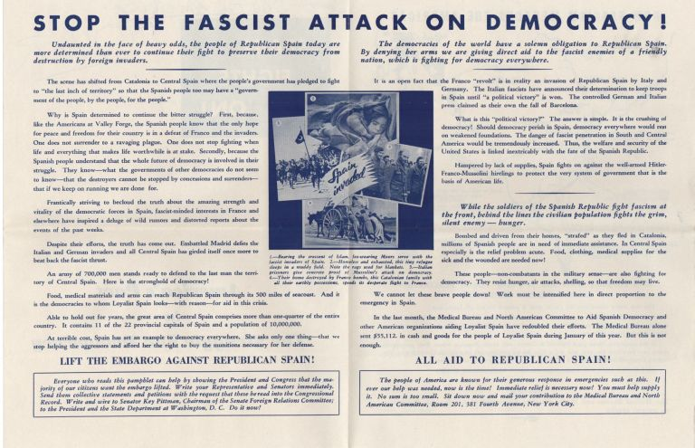Spain Fights On; America's Part in the Struggle for Spanish Democracy. Spanish Civil War.