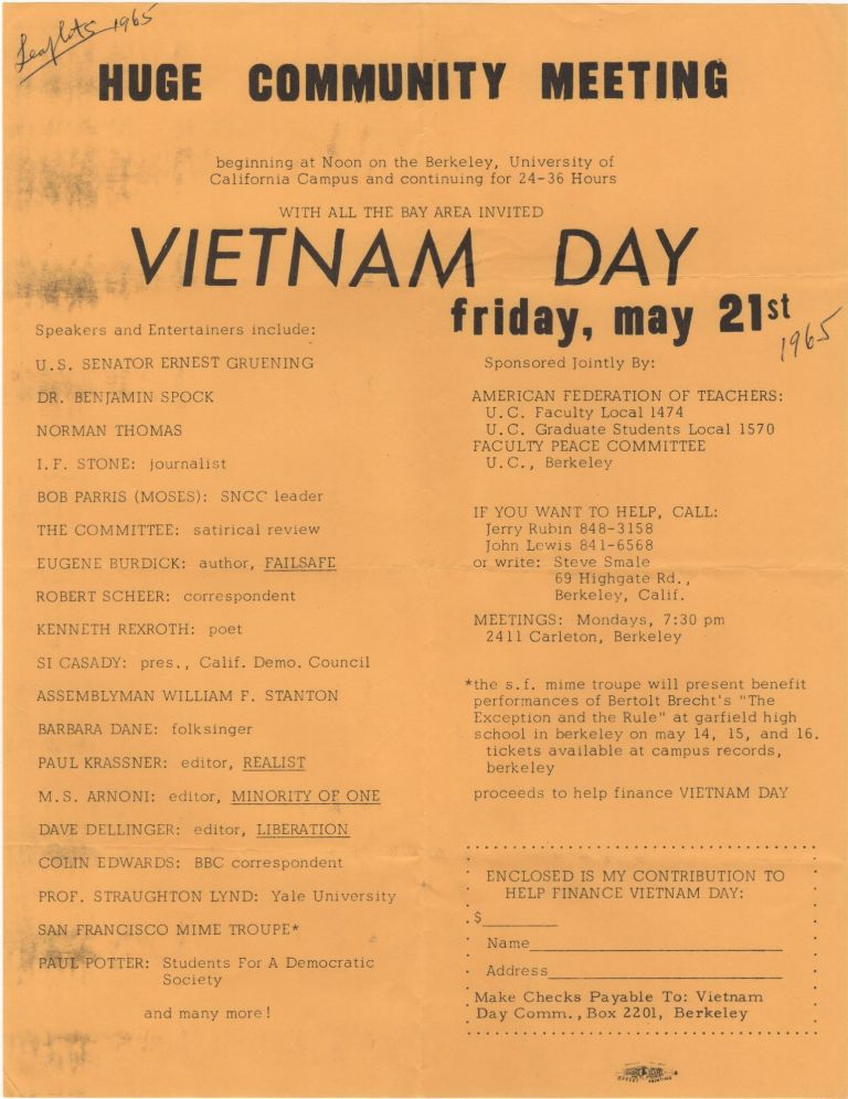 Huge Community Meeting . . . Vietnam Day; Friday, May 21st. Jerry Rubin.