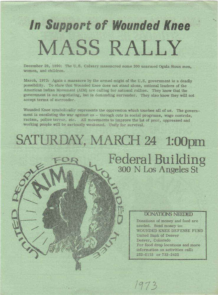 In Support of Wounded Knee Mass Rally; . . . Saturday, March 24. Wounded Knee.