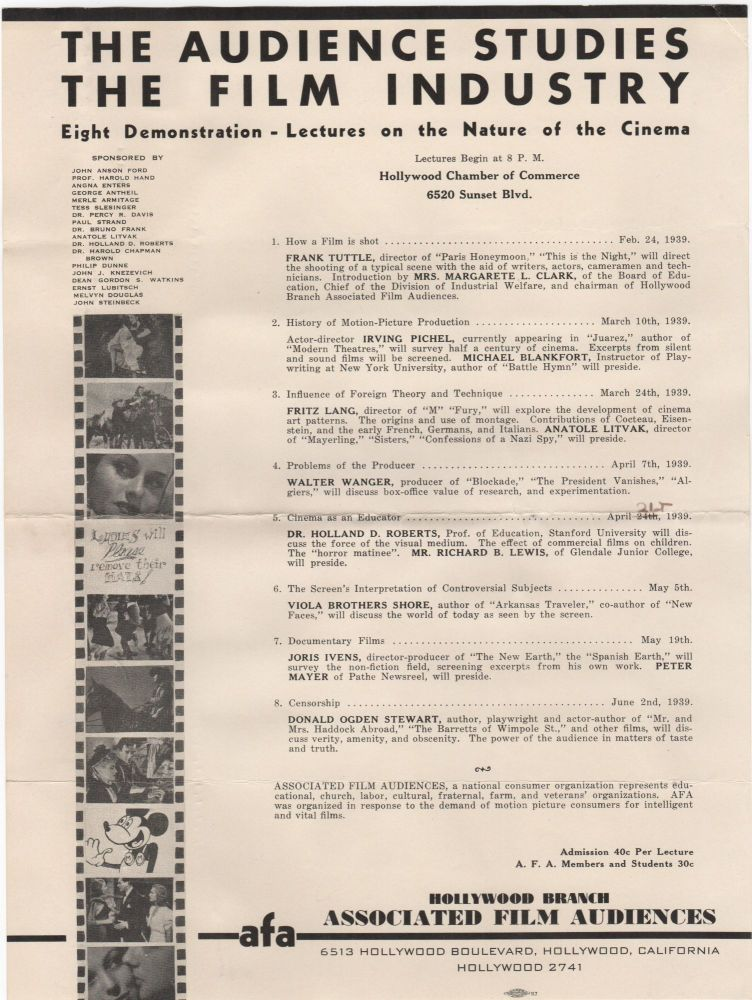 The Audience Studies the Film Industry; Eight Demonstration-Lectures on the Nature of the Cinema. Cinema.