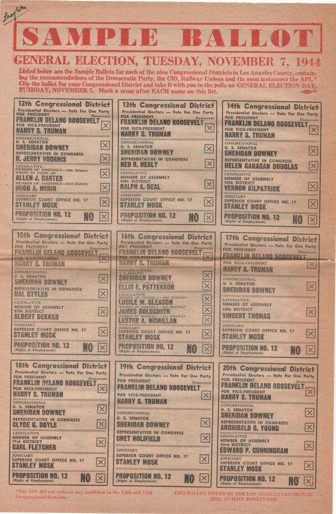 Sample Ballot; General Election, Tuesday, November 7, 1944. Election Politics.