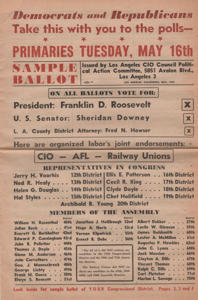 Democrats and Republicans Take This with You to the Polls--; Primaries Tuesday, May 16th Sample Ballot . . Election Politics.