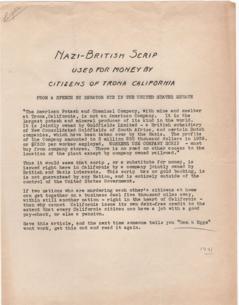"""Nazi-British Scrip Used for Money by Citizens of Trona California; Froma Speech by Senator Nye in the United States Senate. """"Ham, Eggs"""""""