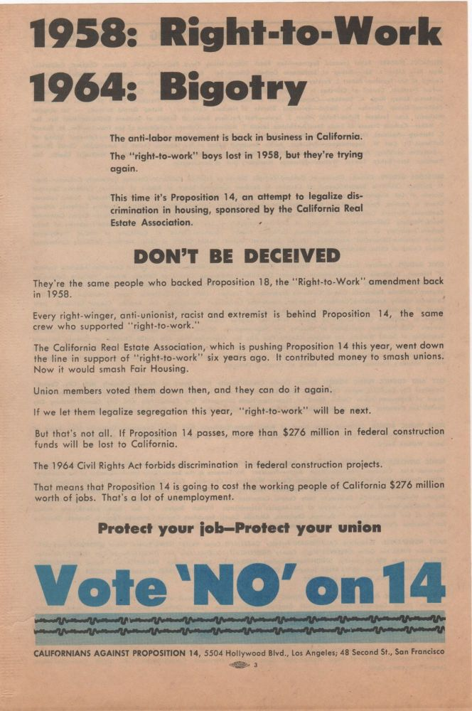 1958: Right-to-Work, 1964: Bigotry; . . . Don't Be Deceived. Civil Rights.