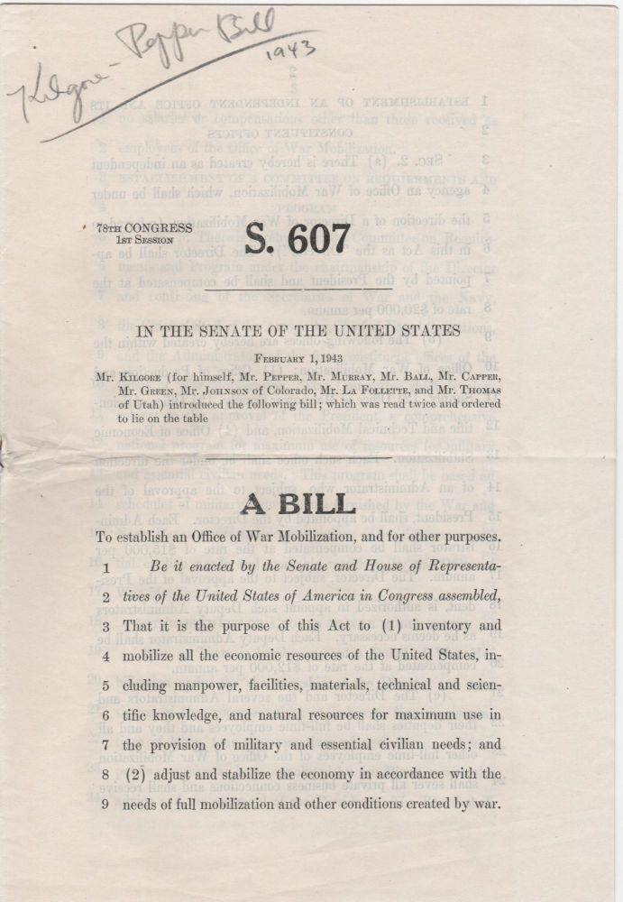 S. 607 In the Senate of the United States. . .; A Bill . . Kilgore, Pepper, Harley, Claude.