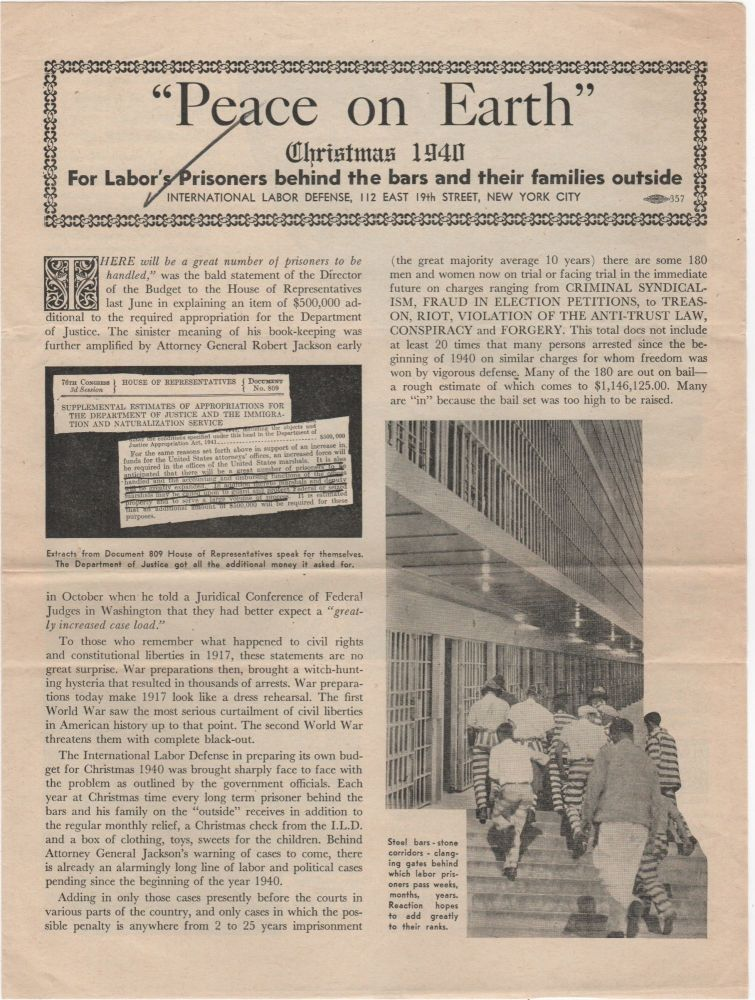 """""""Peace on Earth"""" Christmas 1940; For Labor's Prisoners behind the bars and their families outside. ILD."""