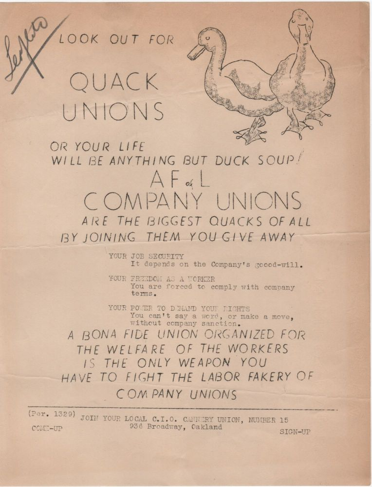 Look Out for Quack Unions; Or Your Life Will Be Anything But Duck Soup! AF of L Company Unions are the Biggest Quacks of All. . Labor Movement.