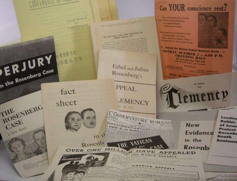 Archive of printed flyers, leaflets, and pamphlets; concerning the Rosenberg case. Julius Rosenberg, Ethel.