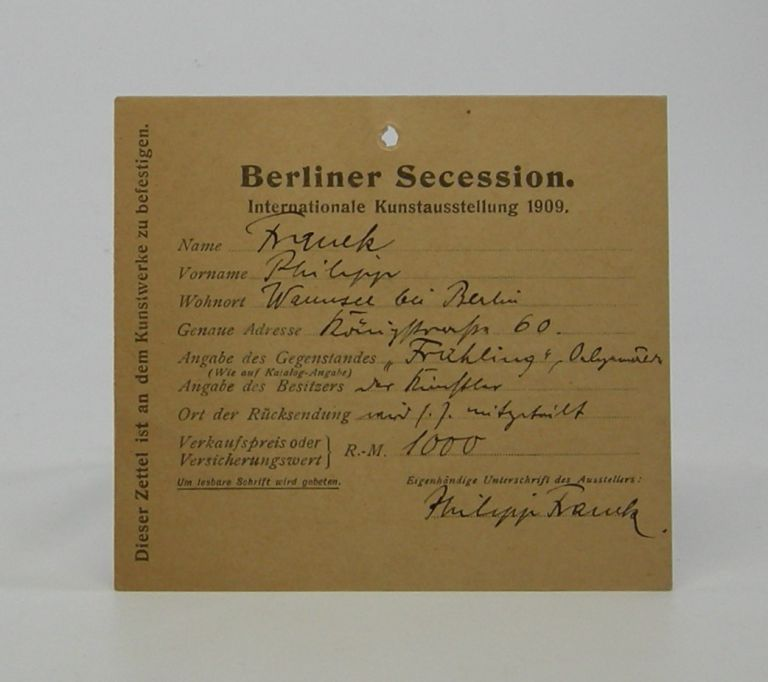 Autograph card; with Franck's writing and signature on one side. Philipp Franck.