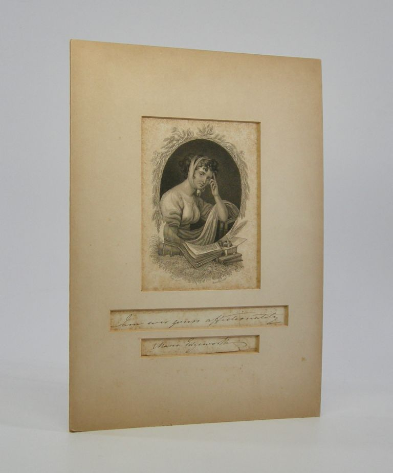 Engraved Portrait; Mounted over a signed inscription. Maria Edgeworth.