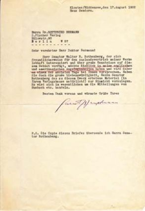 "Typed Letter Signed; ""Gerhart Hauptmann"" to Gottfried Bermann, August 17, 1932. Gerhart Hauptmann."