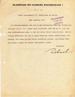 "Typed letter signed; ""Dehmel,"" to Richard Otto Frankfurter, June 14, 1914. Richard Dehmel."