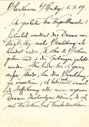 "Autograph letter signed; ""Dehmel"" to an unnamed ""Herr Kapellmeister,"" March 1, 1919. RIchard Dehmel."