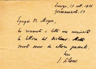 "Autograph postcard signed; ""I. Silone,"" to Oscar Meyer, September 17, 1936. Ignazio Silone"