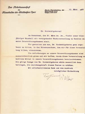 "Typed letter signed; ""TIetjen,"" ""Walter,"" to ""Ew. Hochwohlgeboren"" March 10, 1928. Heinz Tietjen,..."