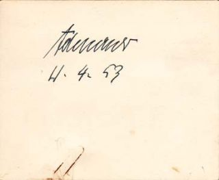"Signature; ""Adenauer, 11.4.53,"" on a card. Konrad Adenauer."