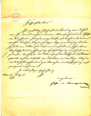 "Letter signed; ""Frhr v. Dingelstedt,"" to Ulla Frankfurter (unnamed), April 18, 1876. Franz von..."