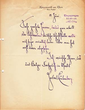 "Autograph letter signed; ""Herbert Eulenberg,"" to Richard Frankfurter (unnamed), June 14 (1914)...."