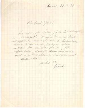 "Autograph letter signed; ""Frank,"" in pencil, to Ernst Glaeser, March 28, 1936. Leonhard Frank"
