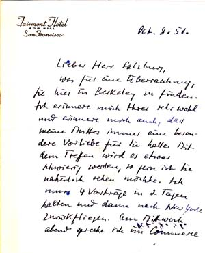 "Autograph letter signed; ""Martin Gumpert,"" to Dr. Salzburg, October 8, 1951. Martin Gumpert"