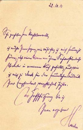 "Autograph postcard signed; ""Harden,"" to Richard Otto Frankfurter, October 22, 1913. Maximilian Harden."