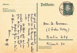 "Autograph postcard signed; ""M.H.,"" to Gottfried Bermann, November 3, 1931. Manfred Hausmann"