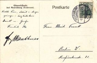 "Autograph letter signed and autograph postcard signed; ""Mauthner"" & ""F. Mauthner,"" to Ulla Frankfurter (""Ulrich Frank""), August 12, 1909 & June 14, 1917. Fritz Mauthner."