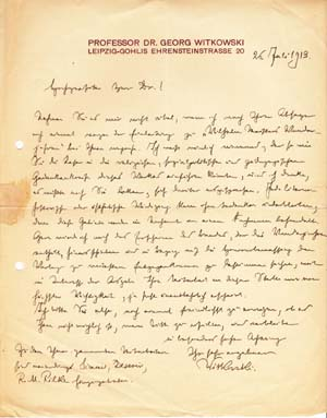 "Autograph letter signed; ""Witkowski,"" to ""Hochgeehrter Herr Dr."" July 26, 1913. Georg Witkowski"