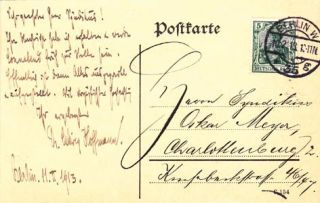 "Three autograph letters and one autograph postcard signed; ""Ludiwg Hoffmann,"" to Oscar Meyer,..."