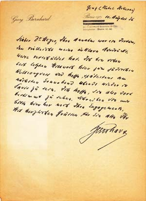 "Autograph letter and autograph postcard signed; ""Bernhard,"" to Oscar Meyer, August 10, 1936 & no..."