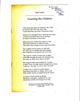 Counting the Children. Dana Gioia