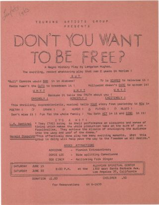 Don't You Want to Be Free?; A Negro History Play by Langston Hughes. The exciting, record...