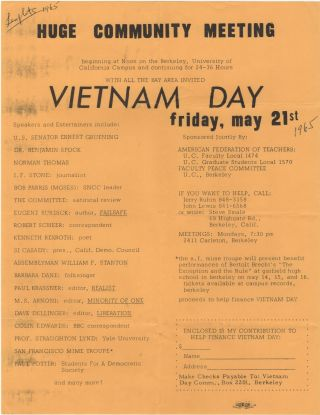 Huge Community Meeting . . . Vietnam Day; Friday, May 21st. Jerry Rubin