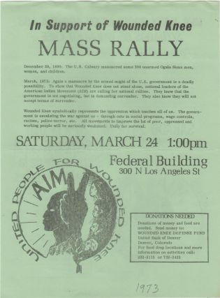In Support of Wounded Knee Mass Rally; . . . Saturday, March 24. Wounded Knee