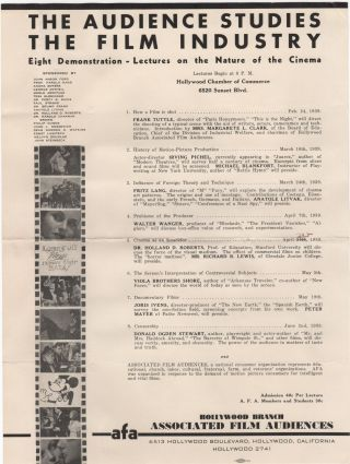 The Audience Studies the Film Industry; Eight Demonstration-Lectures on the Nature of the Cinema....