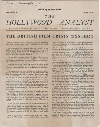 The Hollywood Analyst; Appraising the Films, Radio, Television, Stage, and Music. Vol. 1, No. 2....