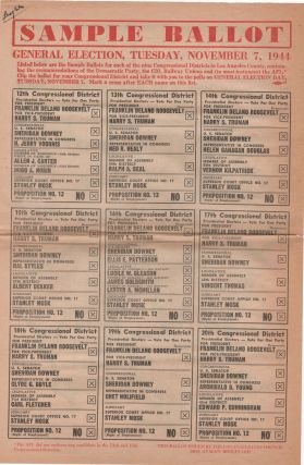 Sample Ballot; General Election, Tuesday, November 7, 1944. Election Politics