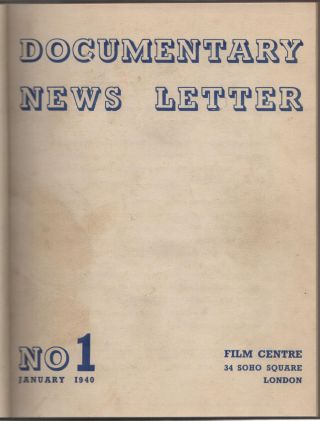 Documentary News Letter; Number One-No. 12, January-December 1940. Cinema.
