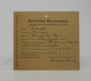 Autograph card; with Franck's writing and signature on one side. Philipp Franck